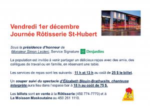 2017 Publicité Journée St-Hubert 1er décembre